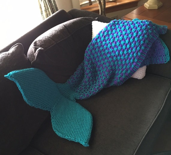 Two Color Mermaid Tail Blanket Knitting Pattern For Children Etsy