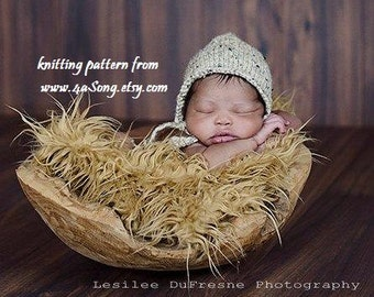 Newborn Rounded Back Bonnet Knitting Pattern, PDF 136, INSTANT DOWNLOAD -- Permission to Sell Hats -- Over 35,000 patterns sold