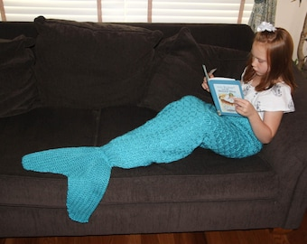 Mermaid Tail Lapghan Blanket Knitting Pattern for Children -- INSTANT DOWNLOAD -- Circular and Back-and-Forth Options Included