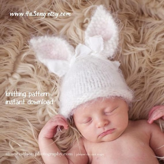 Bebé conejo sombrero que hace punto patrón PDF número 124