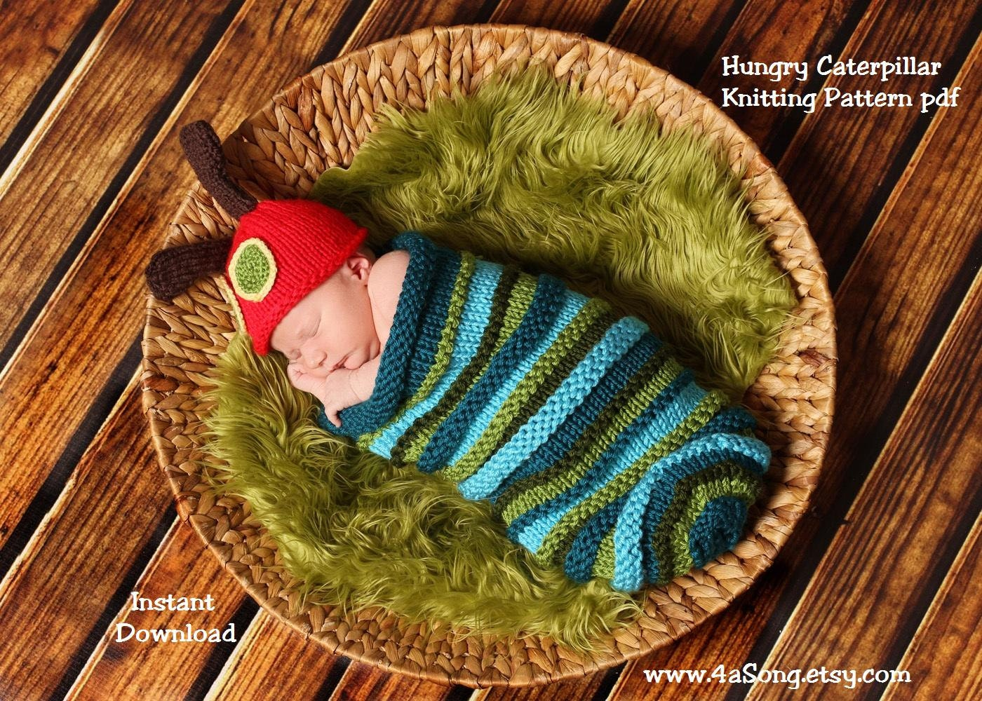 Caterpillar Baby Cocoon And Hat Knitting Pattern In Plain Etsy