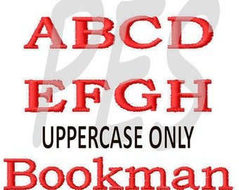 """Bookman UPPERCASE Embroidery Font  in 3 Sizes - 2"""", 3"""", 4"""" FILL - pes files"""