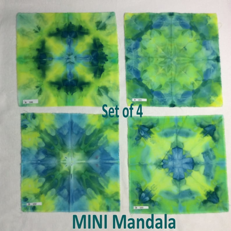 Blue Tie Dyed Hippie Mirror Symmetry Ice Dyed MINI-Mandala Fabric Square Aprox 11 x 11 Inches OOAK Symmetry Green Set of 4
