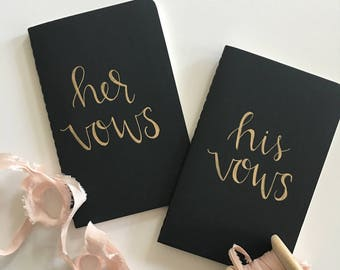Modern Calligraphy Mini Journals Set of 2 | His Vows Her Vows