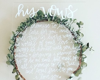 Modern Calligraphy Acrylic Signs | His & Her Vows
