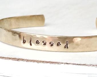 b l e s s e d - hammered, stamped brass/gold bracelet cuff