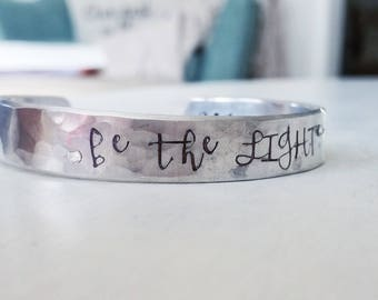 be the LIGHT - 1 Peter 2:9 hand stamped silver cuff bracelet scripture jewelry christian