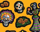80 Day of the Dead Stickers (8 Sheets of 10 Stickers Each) - Seals - Halloween - Dia de los Muertos - Hallowe 39 en (DR-STKR)
