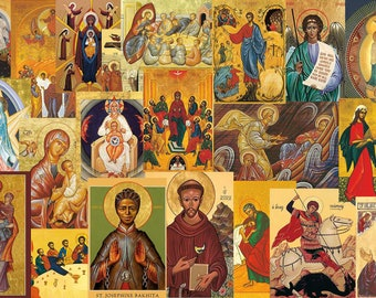 Religious Eastern Icons Easter Egg Candle Stickers Decorating Kit Pack of 5 Sheets