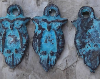 Sweet Little Patinaed Owl Charms - Package of 3