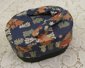 Vintage Japanese Slipper Box made from Golden Accented Navy Yuzen Chiyogami Paper - SALE - Was 30.00 - REDUCED - Half Off