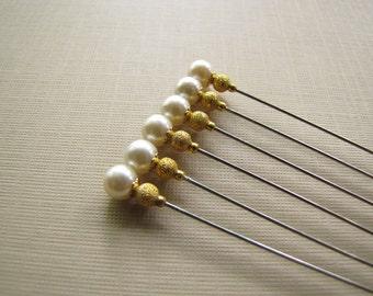 6 Pearl Hijab Pins, Hatpins, Bridal Pins, Decorative pins