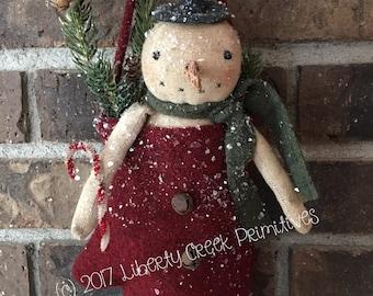 Warm Mitten Snowman ~ Primitive Pattern