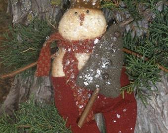"Instant Download ""Bentley"" Primitive Snowman Ornie Epattern"