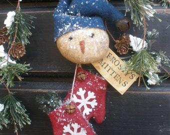 Instant Download Frosty's Mittens Primitive Snowman Ornie Epattern