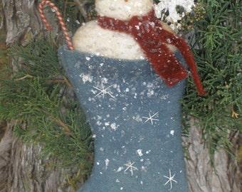 Primitive Snowman Stocking Ornie PATTERN Flakey