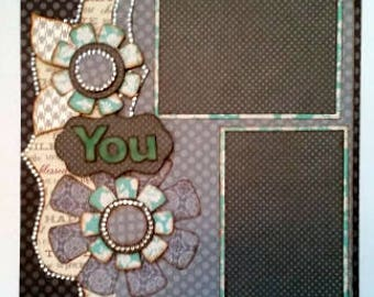 Premade 12 x 12 Scrapbook Page Double Page Layout You & Me