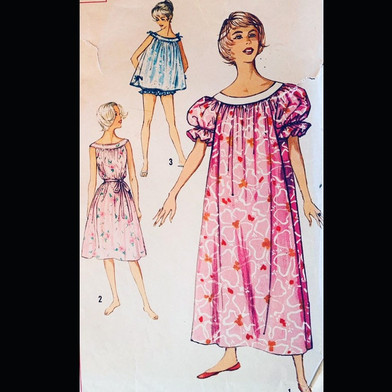 Vintage 60s Evolution of Womanhood Nighgown Babydoll Pajamas image 0