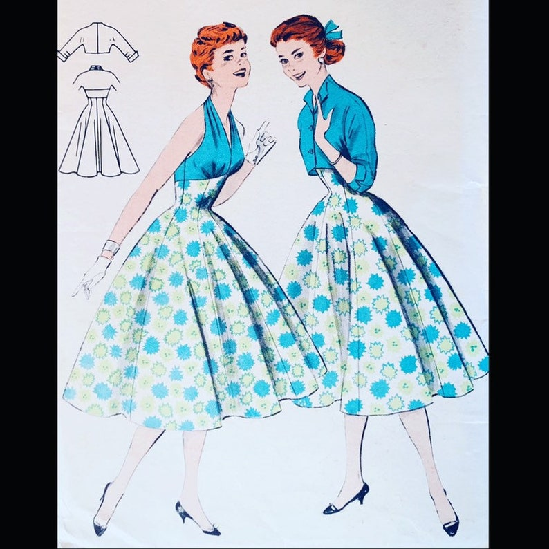 Vintage 50s Marilyn Halter Top Empire Waist Dress Pattern w/ image 0