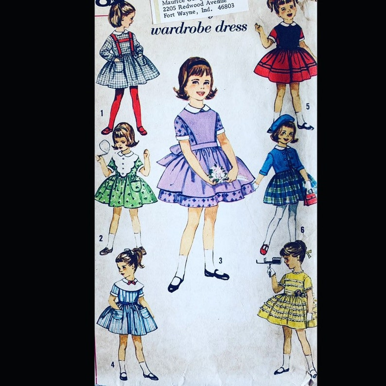 Vintage 50s Toddler Seven Day Wardrobe Girl's Dress Sewing image 0