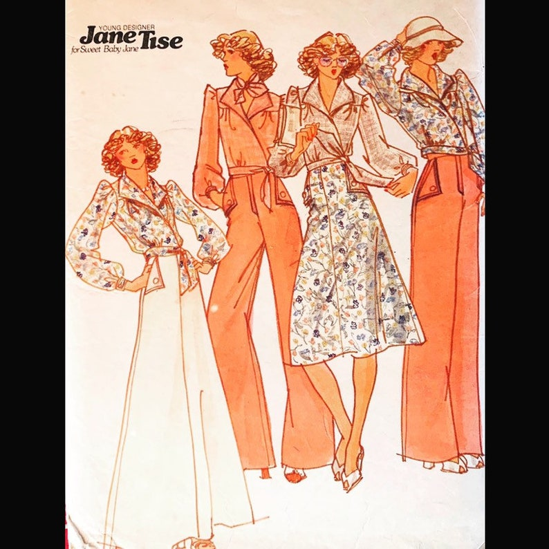 Vintage 70s Jane Tise Designer Wide Leg Pants Wrap Blouse A image 0