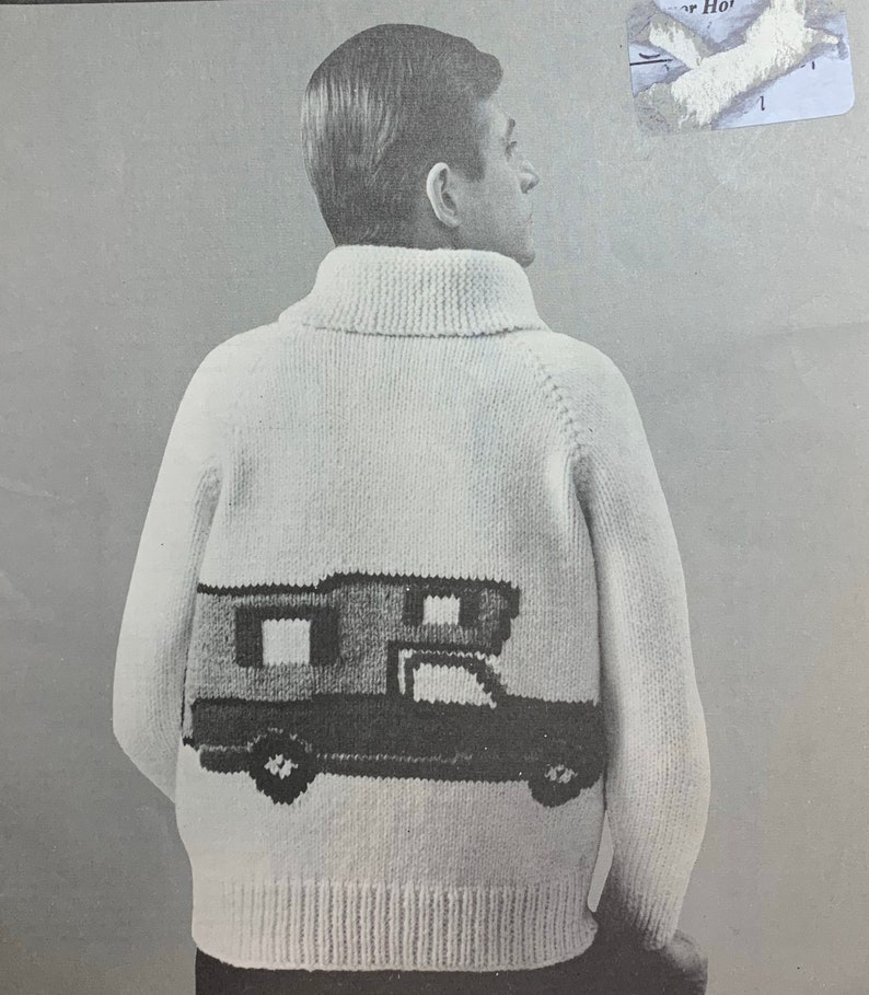 Vintage 60s Mary Maxim Men's Camper RV Cardigan Sweater image 0