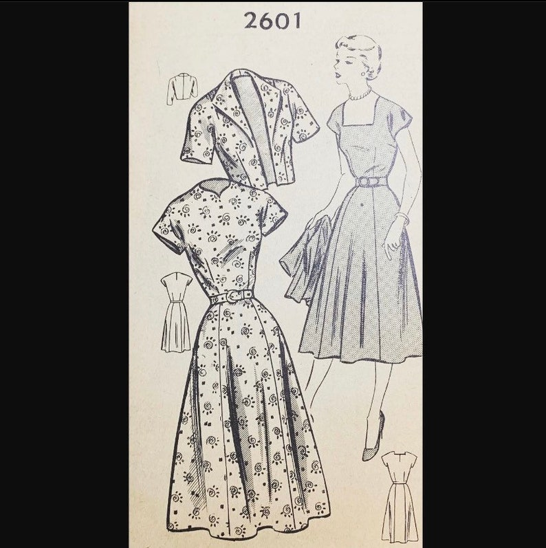 Vintage 50s Square Neckline Short Sleeve Day Dress w/ Wing image 0