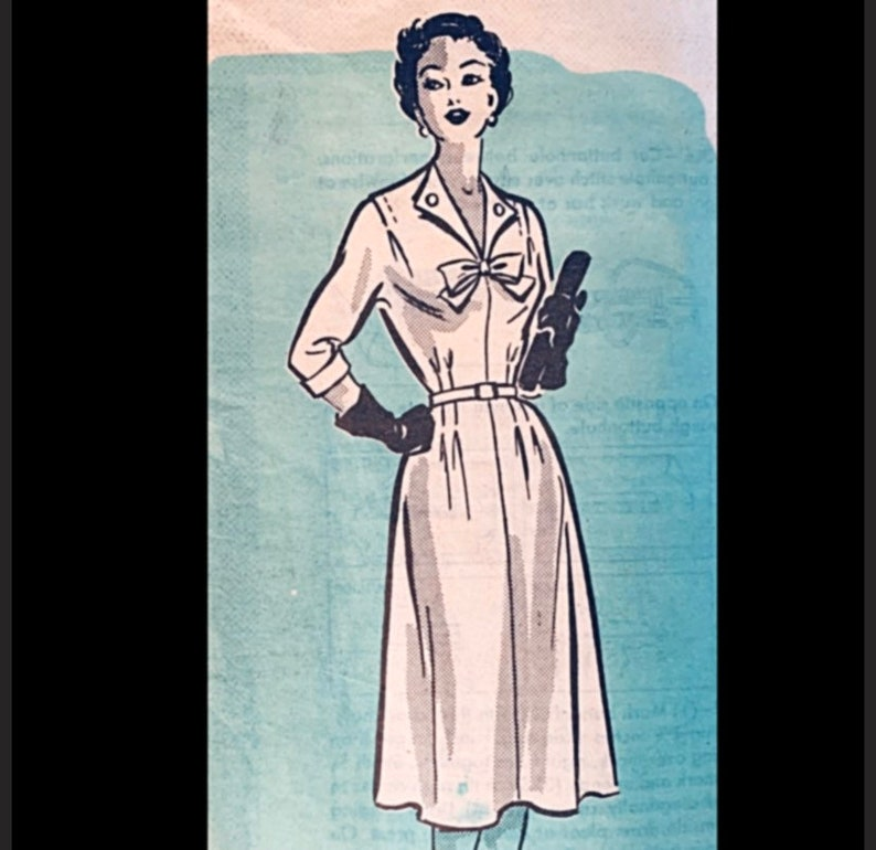 Vintage 50s Bow Trimmed Day Dress Sewing Pattern Cuffed image 0