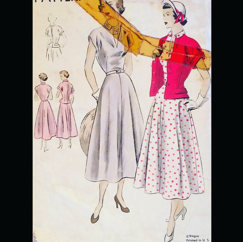 Vintage 40s Wasp Waist Pleated Skirt Fitted Suit WOUNDED BIRD image 0