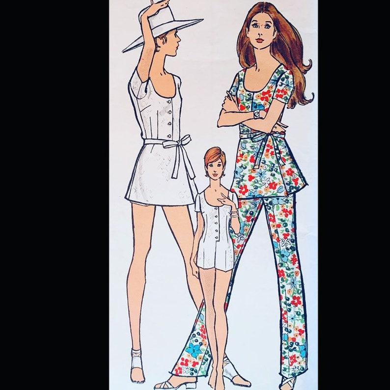 Vintage 70s Scoop Neck Top Mini Dress Jumpsuit Playsuit Sewing image 0