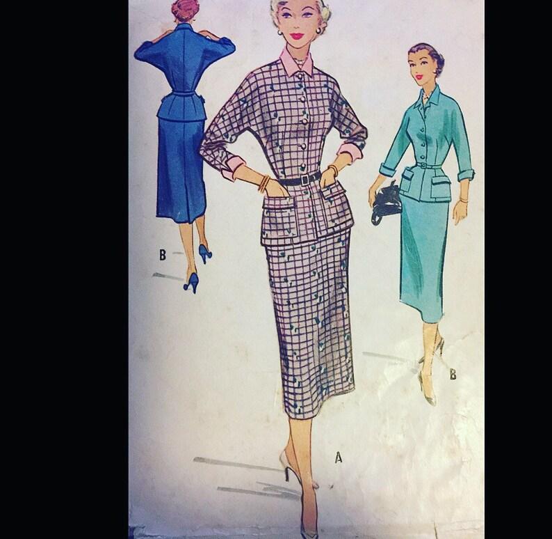 2071d3a12b2 Vintage 50s Wasp Waist Noir Suit Sewing Pattern B36 Button