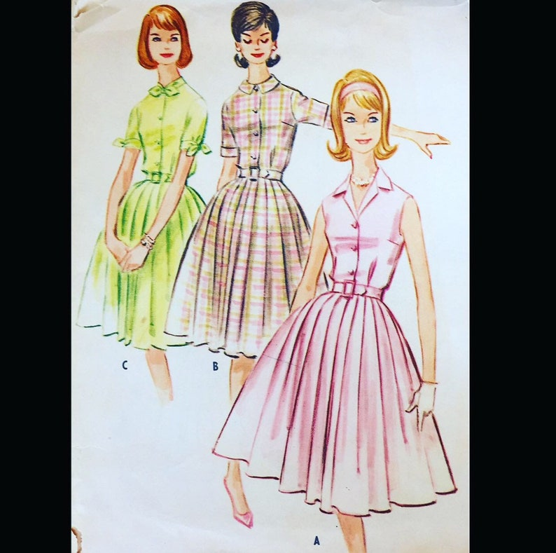 Vintage 60s Sleeveless Shirtwaist Short Sleeve Box Pleat Dress image 0
