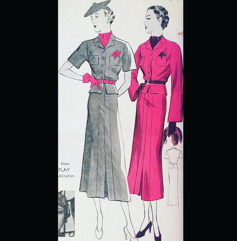 Vintage 1930s Thin Man Style Peplum Suit Plus Size Sewing image 0
