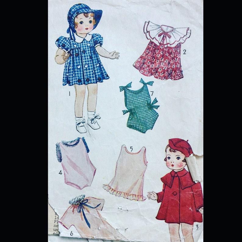Vintage 30s Flounced 14 Inch Doll Playsuit Pleated Dress image 0