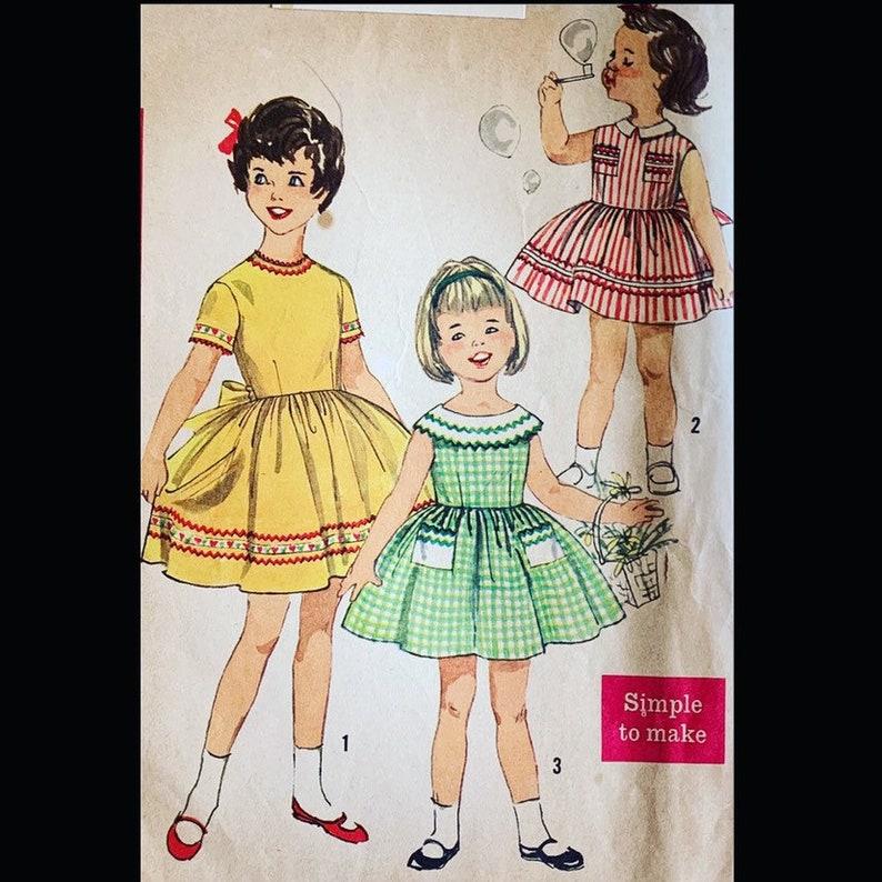 Vintage Toddler Girl Ring Collar Party Dress Sewing Pattern image 0
