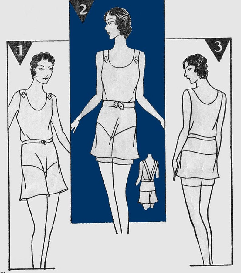1920s Swimsuits- Women & Mens- History, Sew and Shop Vintage 1920s 1930s Swimsuit Bathing Suit Trousers REPRO Sewing Pattern B38 145 $16.00 AT vintagedancer.com