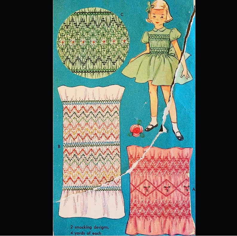 Vintage 50s Smocking Embroidery Transfer Pattern 4045 One Size image 0