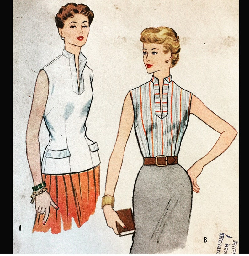b6ab972a953 Vintage 50s Slit V Neck Sleeveless Fitted Shell Wasp Waist