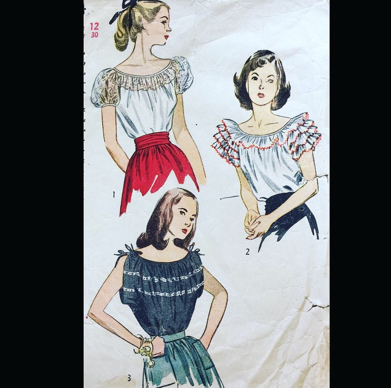 Vintage 40s Off Shoulder Peasant Ruffled Pullover Blouse image 0