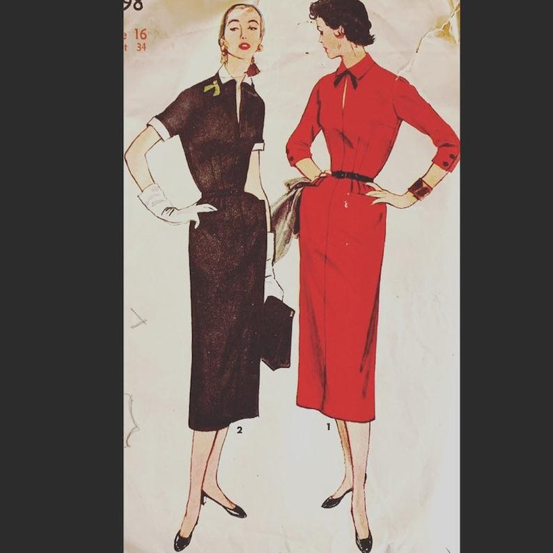 Vintage 50s 60s  Sexy Wiggle Sheath Shirtwaist Dress image 0