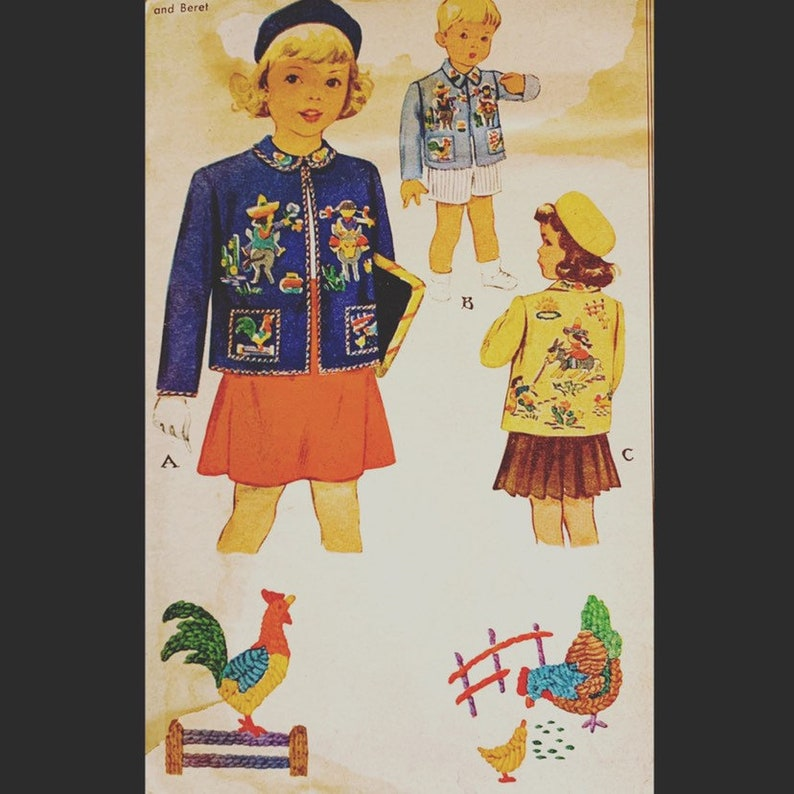 Vintage 40s Square Peter Pan Collar Child's Toddler image 0