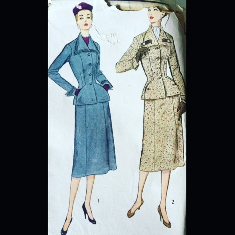 Vintage 50s Super Fitted Nipped Waist Day Suit Sewing Pattern image 0