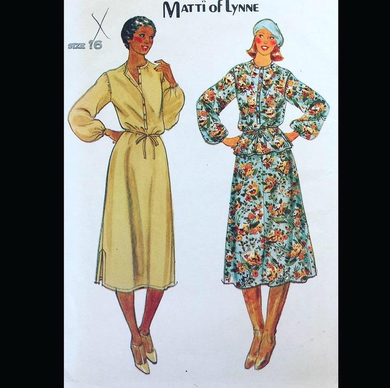 Vintage 70s Matti of Lynne Designaer Peplum Shirtwaist Dress image 0