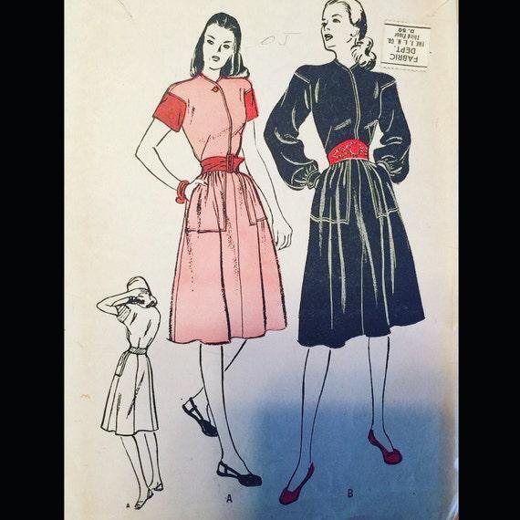 40er Vintage lässig Dirndl kurze Bischof Ärmel Tag Kleid nähen | Etsy