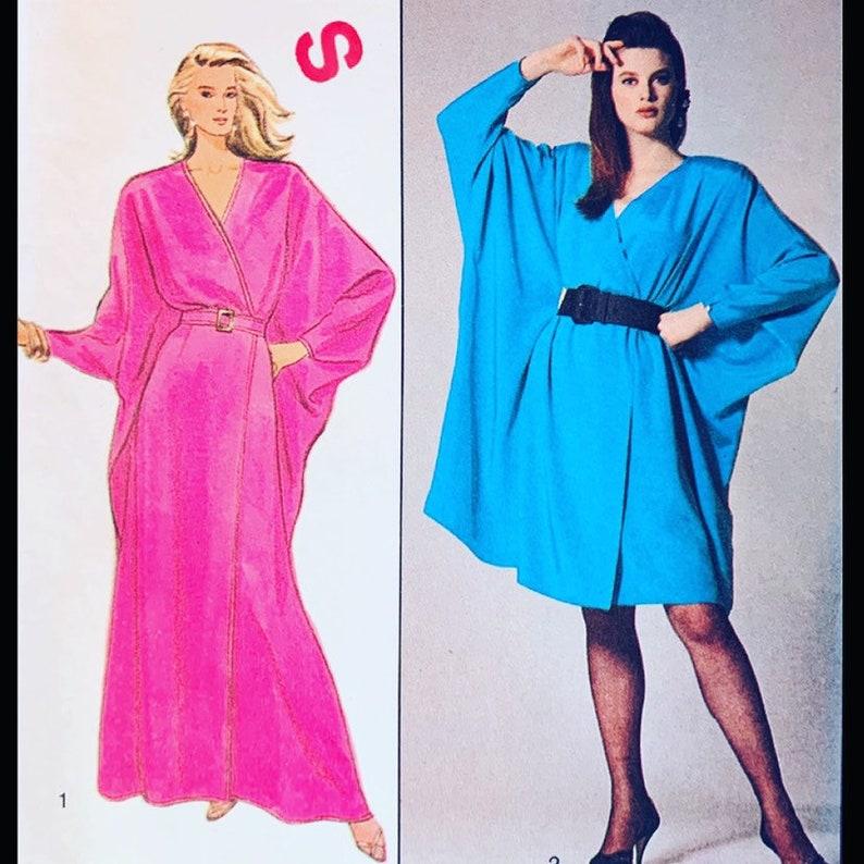 Vintage 80s FANTASTIC Batwing Caftan Dress in 2 Lengths 1383 S image 0