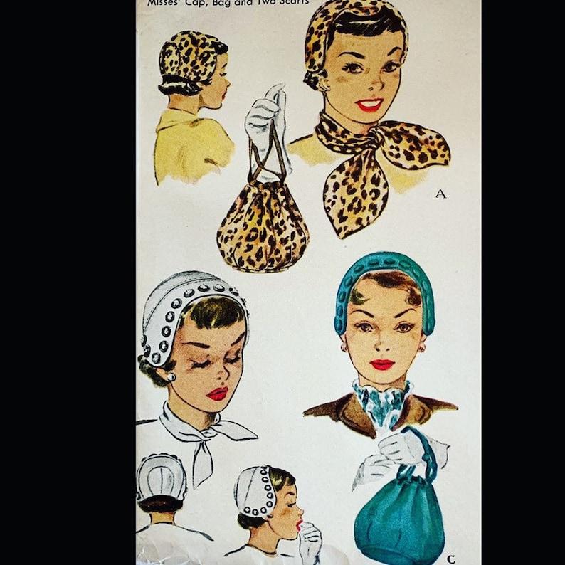 Vintage 50s Fitted Skull Cap Hat Millinery Purse Handbag Scarf image 0