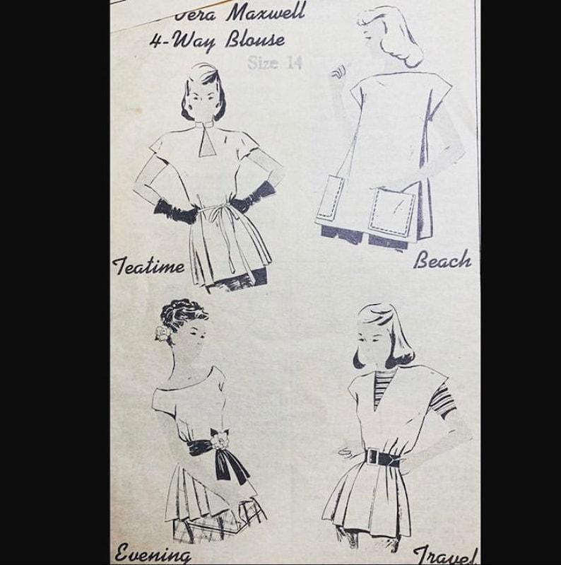 Vintage 50s Vera Maxwell 4 Way Blouse EASY Designer Sewing image 0