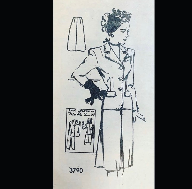 Vintage 40s Upcycle Wasp Waist Suit Sewing Pattern Made from a image 0