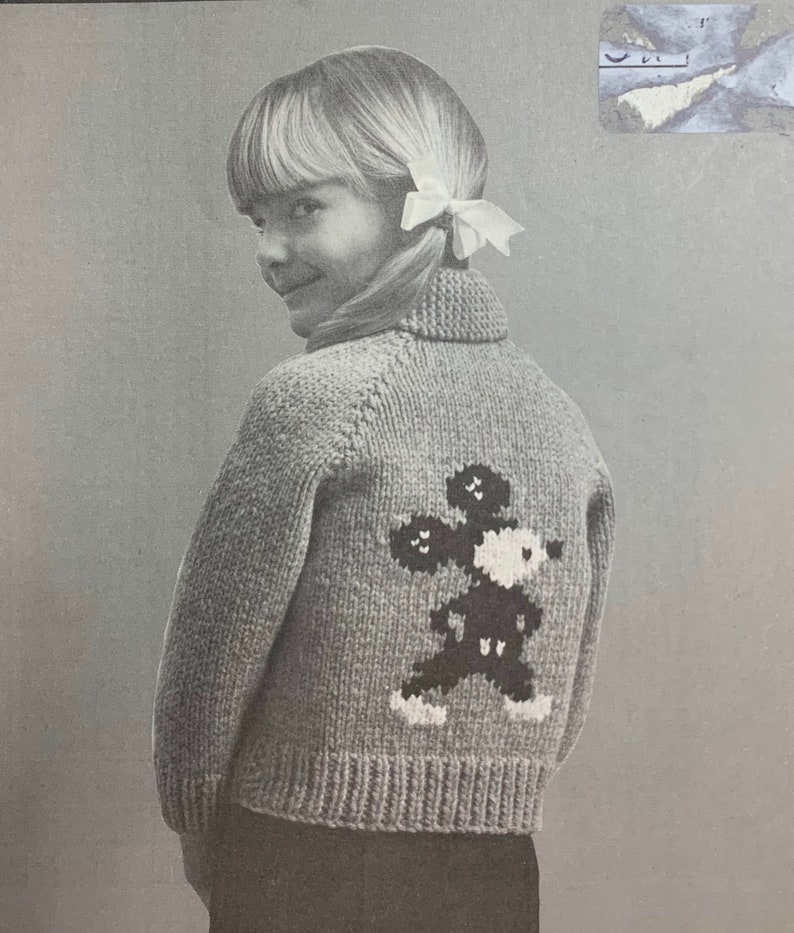 Vintage 60s Mary Maxim Toddler Child's Mouse Cardigan image 0