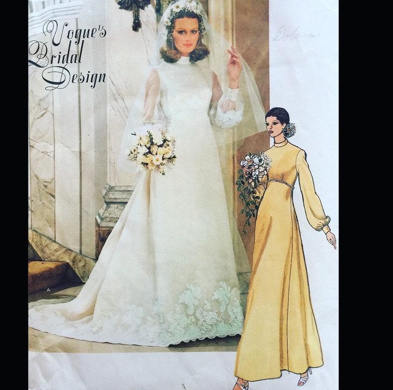 09c992f3627 Vintage 70s Modest Empire Waist Stand Up Collar Bishop Sleeve